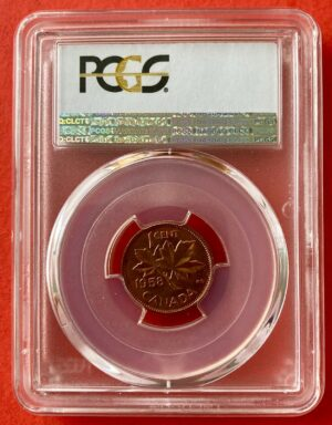 1958 1c MS66 R 300x384 - 1958 Canada 1-Cent Penny PCGS Graded MS66 RED
