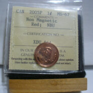 2005P 1c NonMag MS67 O 185x185 - 2005-P Canada 1-Cent Non-Magnetic Penny ICCS Graded MS67 - VERY RARE