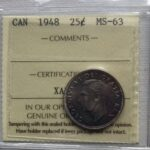 1948 25c MS63 150x150 - 1948 Canada 25-cent ICCS Graded MS-63