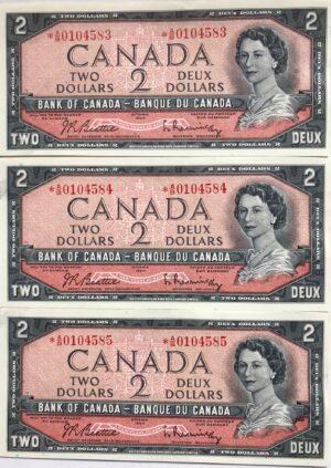1954 2 MR AB 3x UNC A 300x423 - 1954 $2 *AB Prefix Beattie-Rasminsky BC-38bA UNC Replacement x3 Consecutive Notes