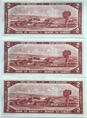 1954 2 MR AB 3x UNC B 300x405 - 1954 $2 *AB Prefix Beattie-Rasminsky BC-38bA UNC Replacement x3 Consecutive Notes