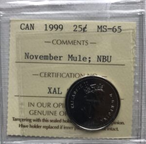 1999 25c Mule MS65 300x296 - 1999 Canada 25-cent MULE ICCS Graded MS-65